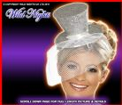 FANCY DRESS HAT # FEVER MINI TOP HAT SILVER GLITTER
